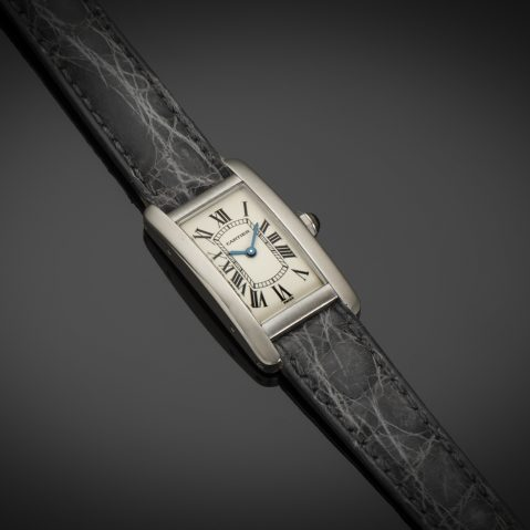 Montre Cartier Tank américaine or gris