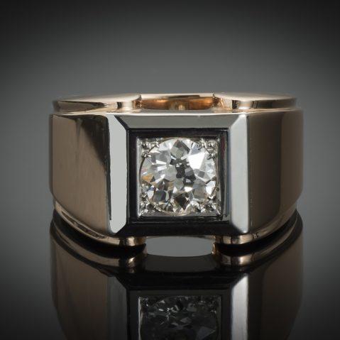 Bague Tank vers 1940 diamant (1,20 carat)