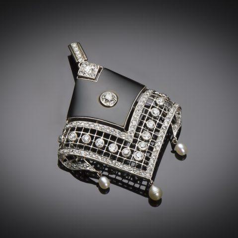 Pendentif onyx diamants perles fines Art Déco (vers 1930)