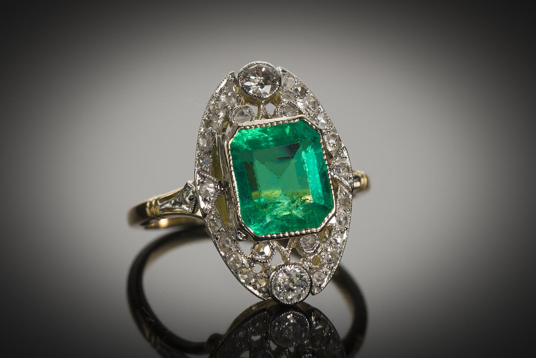 Bague émeraude diamants début XXe siècle-1