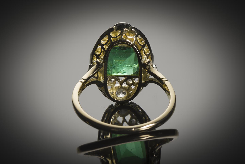 Bague émeraude diamants début XXe siècle-2