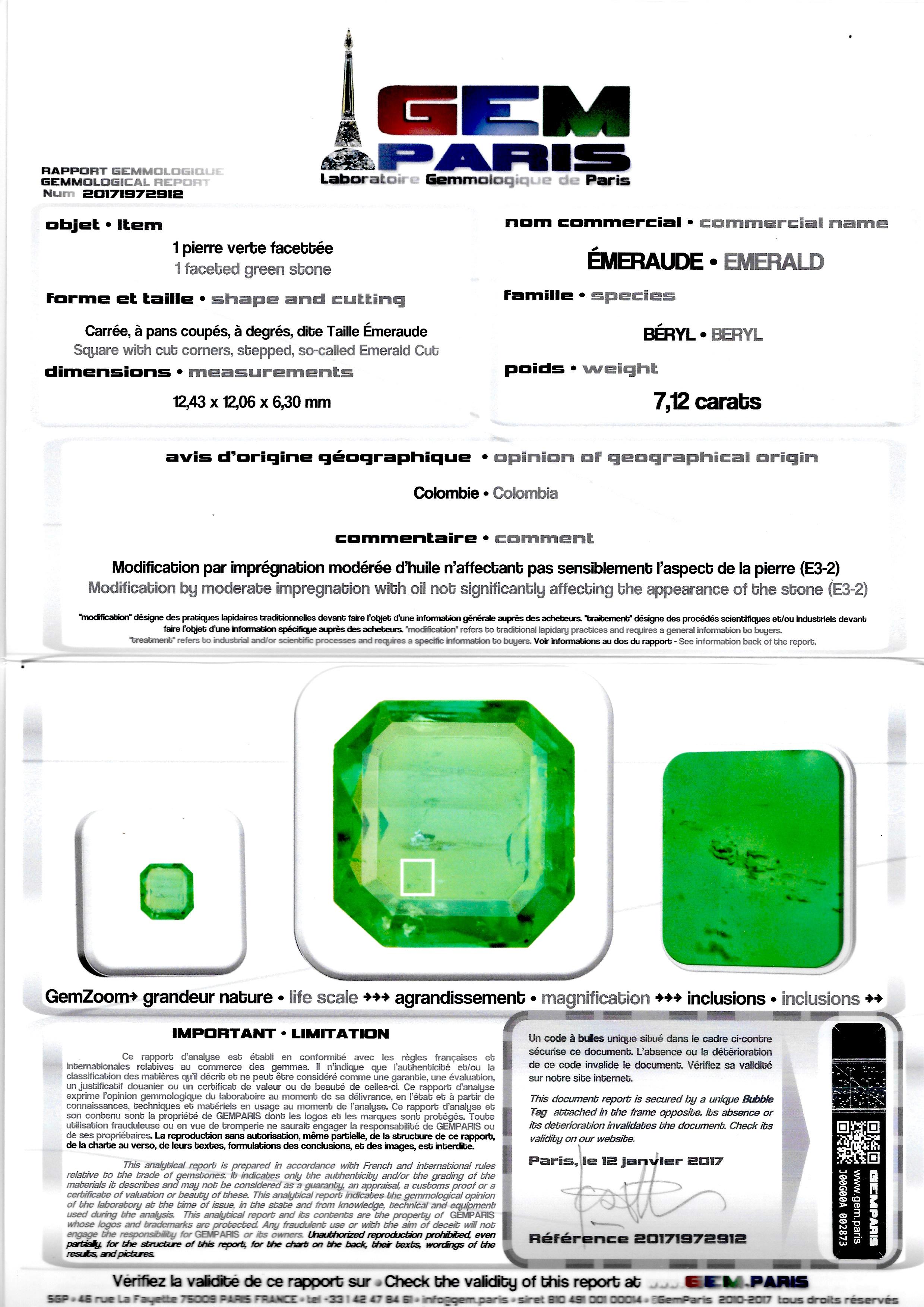 Bague Art Déco émeraude Colombie (7,12 carats certificat Gem Paris) diamants-4