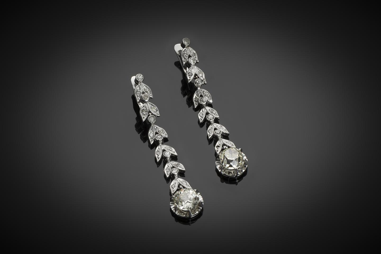 Pendants d'oreilles diamants (3,50 carats) vers 1935-1