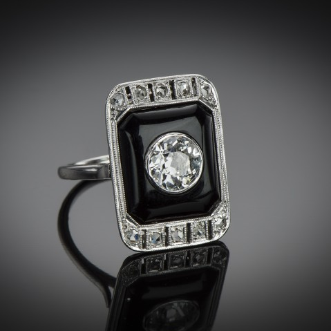 Diamond and onyx Art Deco ring