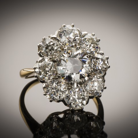 Ring late 19th century diamonds (3.60 carats)