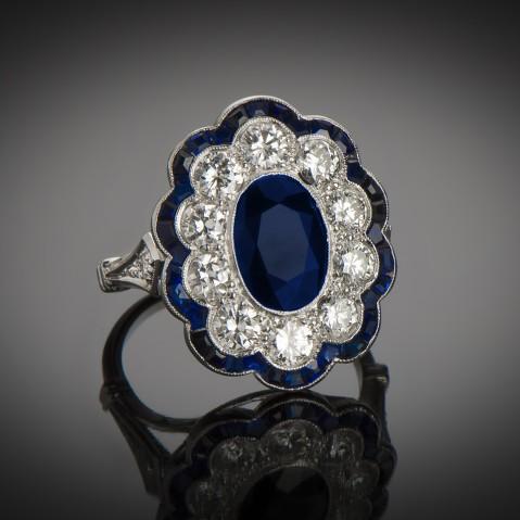 Art Deco diamond and sapphire ring (3 carats)