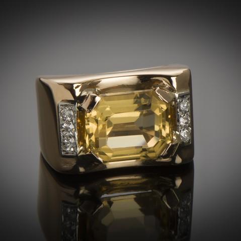 Citrine diamond ring circa 1940