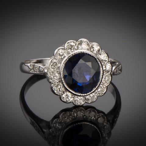 Art Deco natural sapphire ring (CGL certificate) diamonds