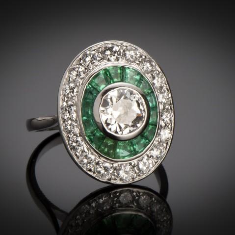 Art Deco emerald and diamond ring