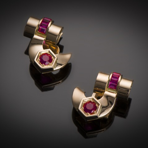 Earrings circa 1940 rubies