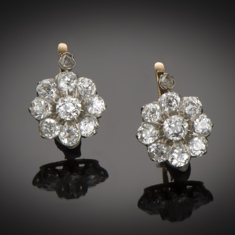Late 19th century diamond earrings (2.20 carats)