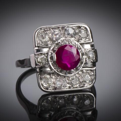 Art Deco ruby ring (certificate)
