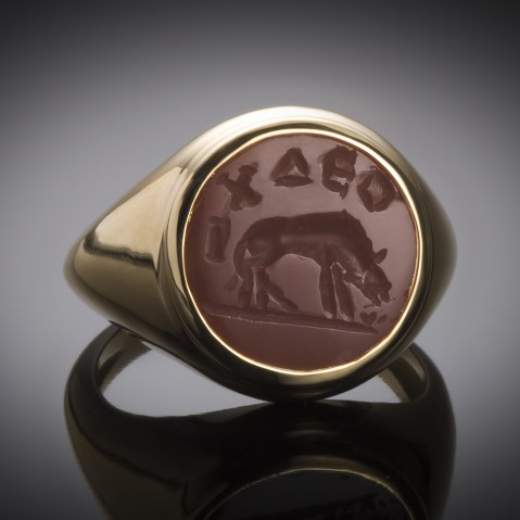 Roman intaglio ring depicting a wolf (2nd – 3rd century AD)