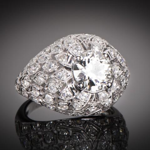 Art Deco ring (circa 1930) diamonds 3.50 carats