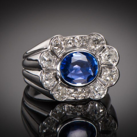 Art Déco natural Burmese sapphire ring (certificate)