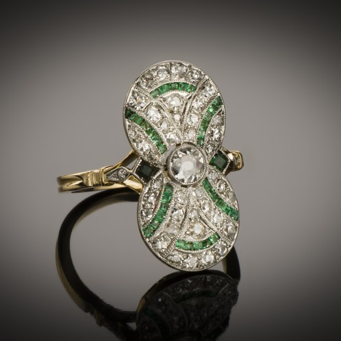Emerald diamond ring circa 1920