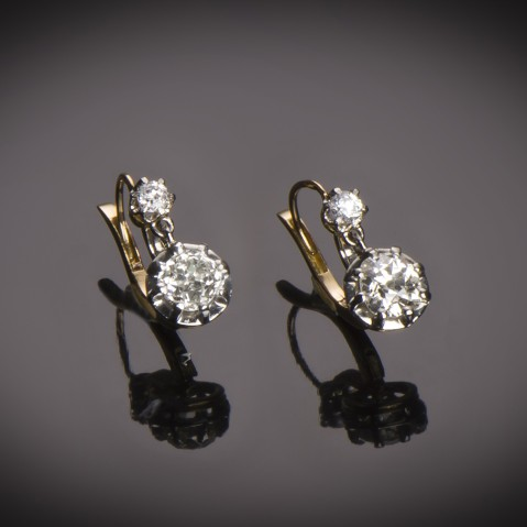 French diamond earrings (2 carats) circa 1900