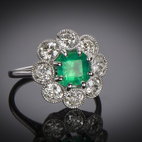 French Art Deco emerald (Colombian certificate) and diamond ring
