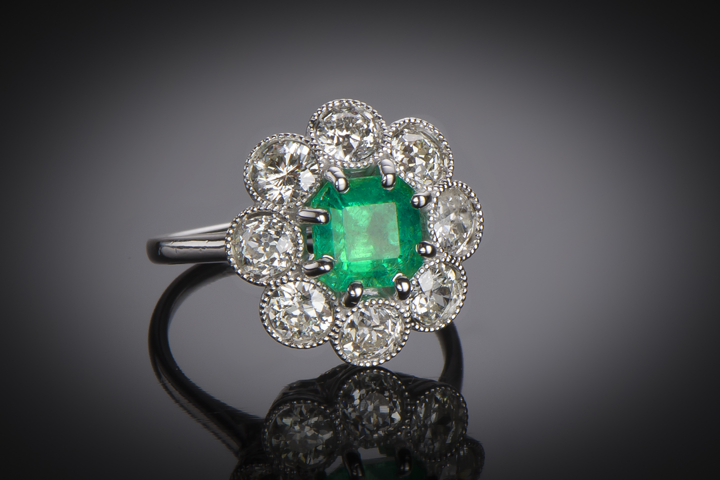 French Art Deco emerald (Colombian certificate) and diamond ring-1