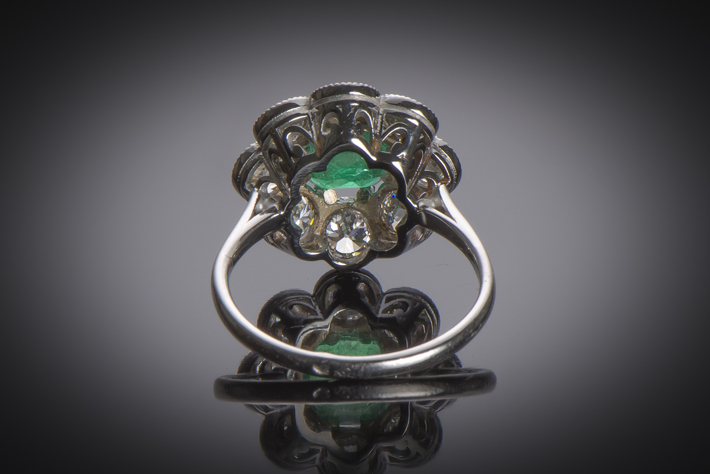 French Art Deco emerald (Colombian certificate) and diamond ring-2