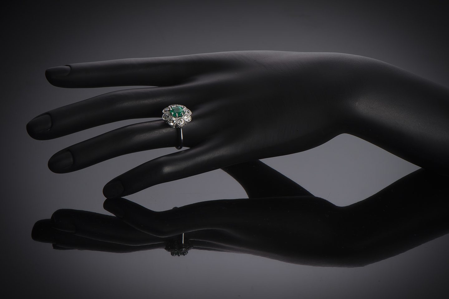 French Art Deco emerald (Colombian certificate) and diamond ring-3