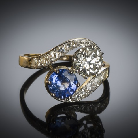 French diamond and sapphire ring circa 1900