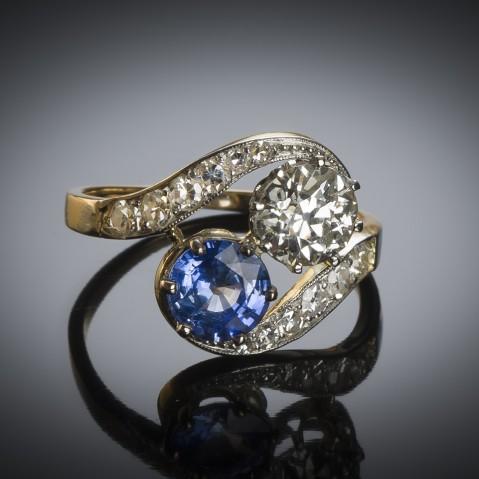 French diamond and sapphire ring circa 1900
