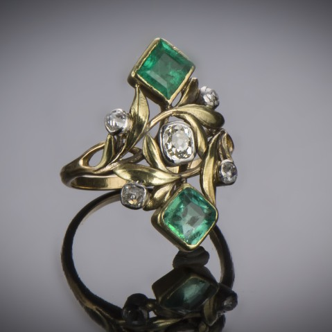 Art Nouveau Edouard-Aimé Arnould emeralds and diamonds ring (with its preparatory drawing)