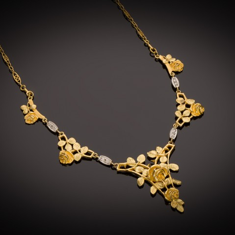 French Art Nouveau diamond necklace
