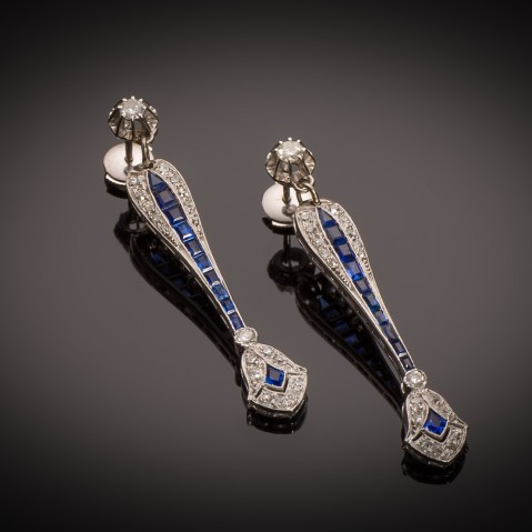 Art Deco diamond and sapphire  earrings