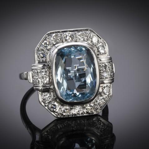 French Art Deco aquamarine (5 carat) diamond ring