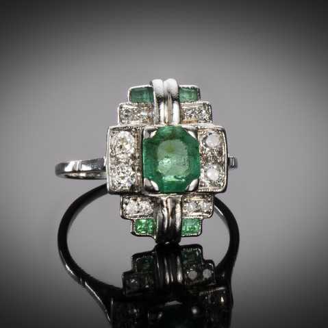 Emerald diamond ring circa 1930