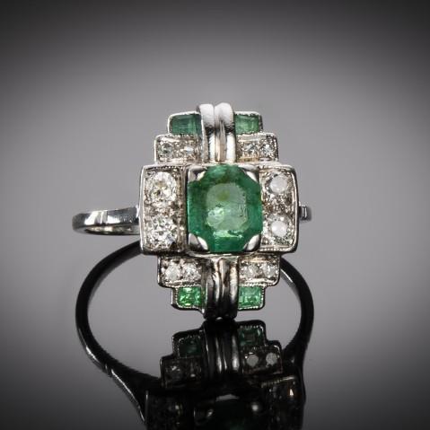 Emerald diamond ring circa 1930