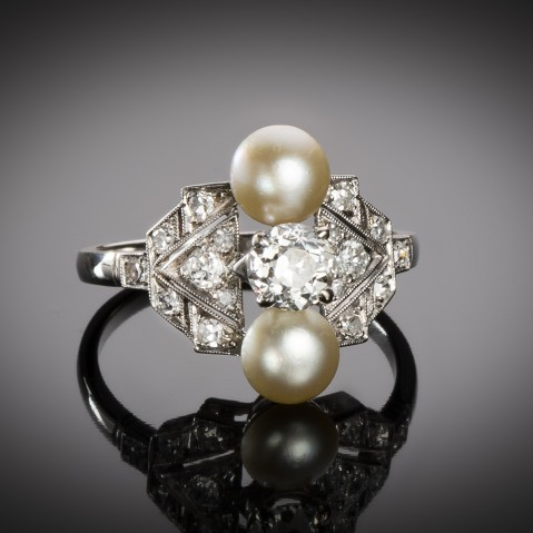 French Art Deco natural pearl and diamond ring