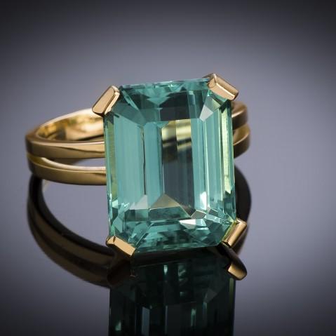 Tourmaline (intense blue green, 10.64 carats, certificate) ring, circa 1950