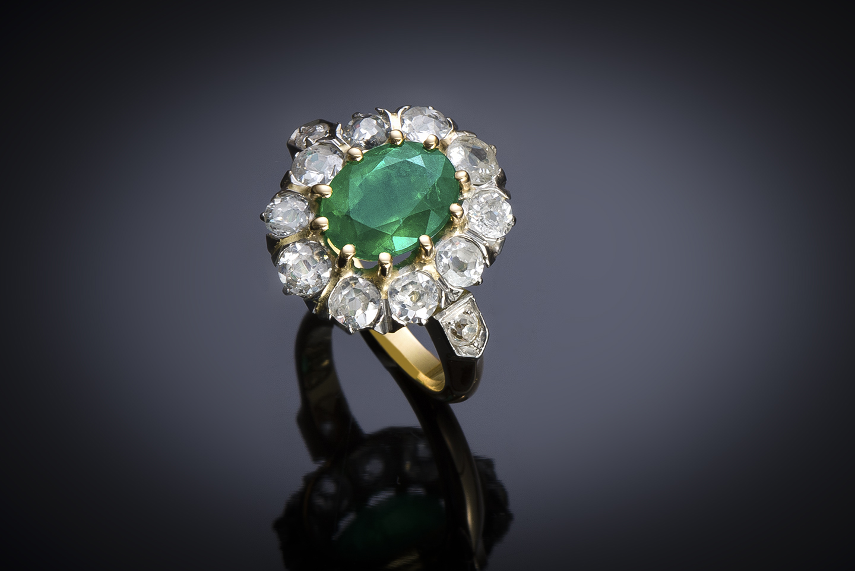 An early 20th century emerald an diamond ring-1