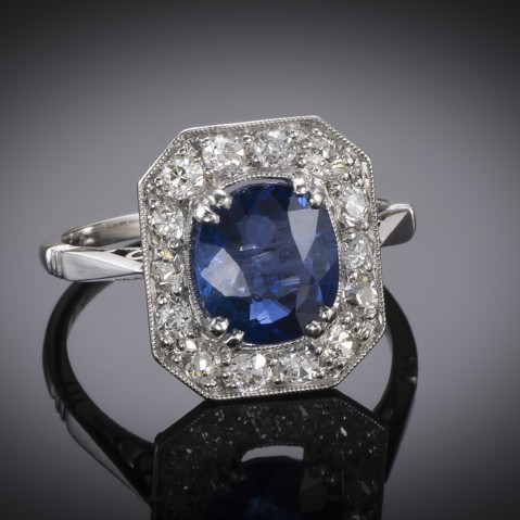 French Art Deco natural Burmese sapphire and diamond ring