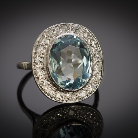 French Art Déco aquamarine diamond ring