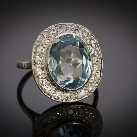 French Art Déco aquamarine diamond ring