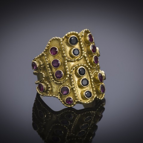Zolotas vintage ruby and sapphire ring