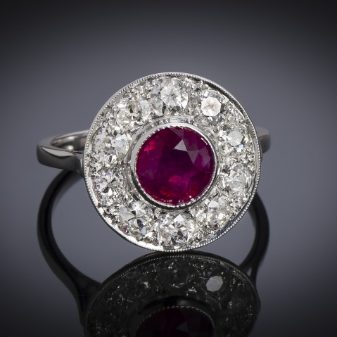 Art deco natural Burmese ruby and diamond French ring (intense red, LFG certificate)