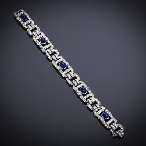 French Art Deco diamond and lapis lazuli bracelet