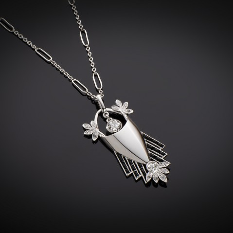 French Art Deco diamond and onyx pendant