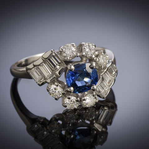 French vintage sapphire (natural Burmese) and diamond ring