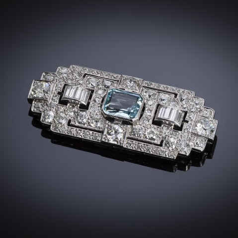 French Art Deco diamond aquamarine brooch