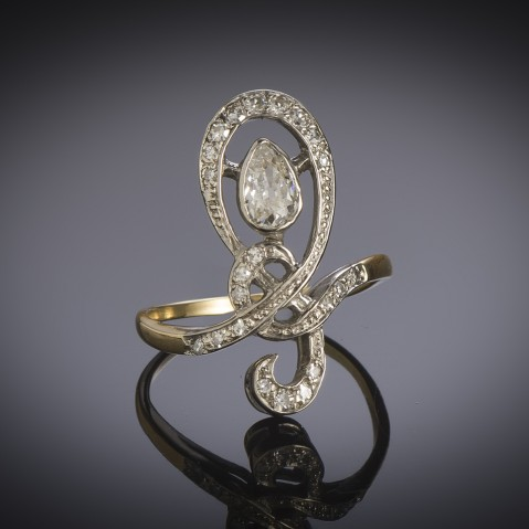 French early 20th century diamond ring (1 carat)