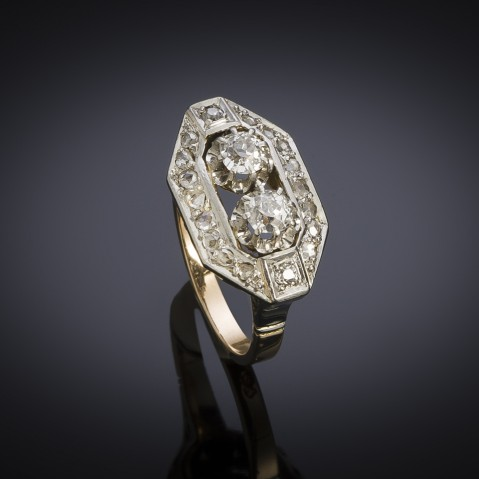 French Art deco diamond ring (circa 1935)
