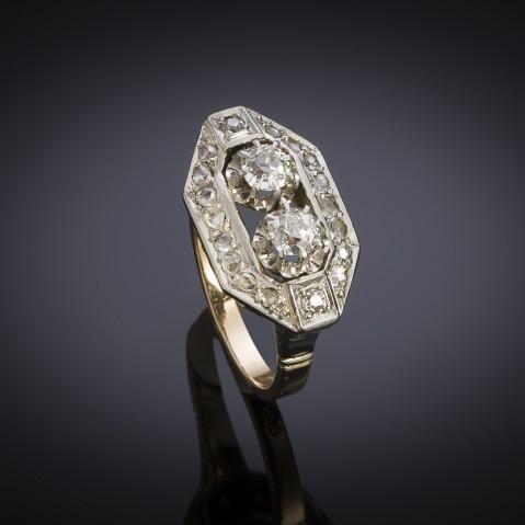French Art deco diamond ring (circa 1935)