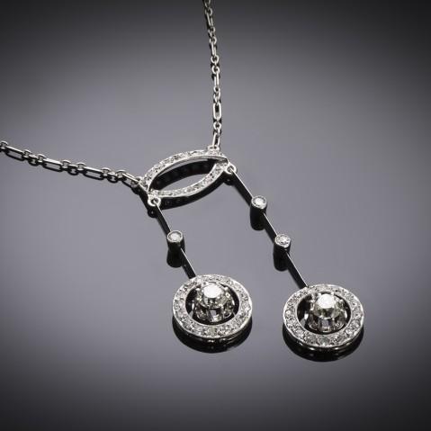 French Art Deco diamond necklace in platinum