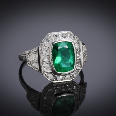 French Art Deco emerald and diamond ring